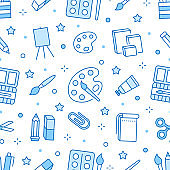 Stationery background, school tools seamless pattern. Art education wallpaper with line icons of pencil, pen, paintbrush, palette, notebook. Painter supplies vector illustration blue white color