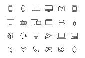 Set of 24 Electronics and Devices web icons in line style. Device, phone, laptop, communication, smartphone, ecommerce. Vector illustration.