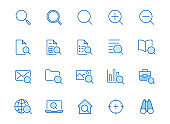 Search line icons set. Zoom, find document, magnify glass symbol, look tool, binoculars minimal vector illustrations. Simple flat outline signs for web interface. Blue color, Editable Stroke