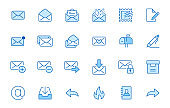 Email line icons set. Letter, spam mail, open envelope, postage stamp, mailbox, new document minimal vector illustrations. Simple flat outline signs for web. Blue color, Editable Stroke
