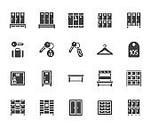 Locker room flat glyph icons set. Gym, school lockers, automatic left-luggage office, key tag vector illustrations. Black signs personal belongings storage. Silhouette pictogram pixel perfect 64x64