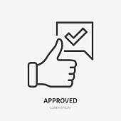 Thumb up line icon, vector pictogram of approve. Best choice illustration, sign for vote