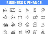 Set of 24 Business and Finance web icons in line style. Money, dollar, infographic, banking. Vector illustration.