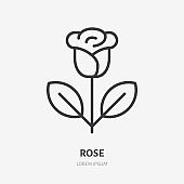 Rose line icon, vector pictogram of single flower. Plant illustration, sign for flowers store