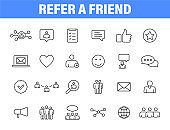 Set of 24 Refer a friend icons in line style. Referral program, marketing, invite friends. Vector illustration.