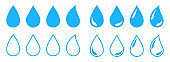 Big set of water drop icons. Black and blue water drop. Vector illustration.