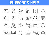 Set of 24 Support and Help web icons in line style. Assistance, email, customer, 24 hrs, service, contact. Vector illustration.