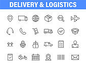 Set of 24 Delivery and logistics web icons in line style. Courier, shipping, express delivery, tracking order, support, business. Vector illustration.