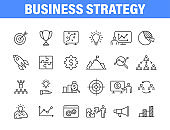 Set of 24 Business strategy web icons in line style. Startup, investment, financial, development, marketing, idea. Vector illustration.
