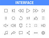 Set of 24 Interface web icons in line style. Contact us, phone, settings, communication, smartphone, technology. Vector illustration.