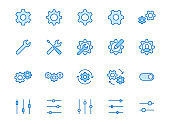 Gear, cogwheel line icons set. App settings button, slider, wrench tool, fix concept minimal vector illustrations. Simple flat outline signs for web interface. Blue color, Editable Stroke