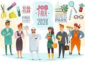 job fair characters poster. cartoon different professions people characters job fair horizontal poster invitation