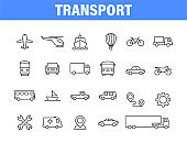 Set of 24 Transport web icons in line style. Airplane, bus, parking, travel, train, comfortable. Vector illustration.