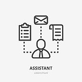 Business assistant line icon, vector pictogram of salesman with multi skills. Businessman stroke sign for time management