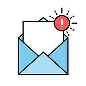 Envelopes icons with a picture of a closed letter. Paper document enclosed in an envelope. Delivery of correspondence or office documents. Vector illustration.