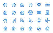 Home line icons set. House, residential building, homepage, property mortgage minimal vector illustrations. Simple flat outline sign for web real estate app. Blue color, Editable Stroke