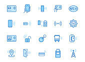 NFC line icon set. Near Field Communication technology, contactless payment, card with chip minimal vector illustration. Simple outline signs for smartphone pay. Blue color, Editable Stroke
