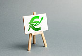 Information stand with a green Euro sign and up arrow. Increase profits and wealth. growth of wages, prices for manufactured and sold goods. Favorable conditions for business. Investment attraction