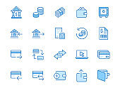Finance line icon set. Money transfer, bank account, credit card payment cash back minimal vector illustration. Simple outline sign for online banking application. Blue color, Editable Stroke