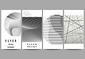 The minimalistic vector illustration of the editable layout of flyer, banner design templates. Geometric abstract background, futuristic science and technology concept for minimalist design.