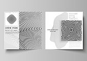 The minimal vector layout of two square format covers design templates for brochure, flyer, magazine. Abstract 3D geometrical background with optical illusion black and white design pattern.
