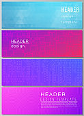 The minimalistic vector illustration of the editable layout of headers, banner design templates. Abstract geometric pattern with colorful gradient business background.