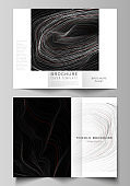 The minimal vector illustration of editable layouts. Modern creative covers design templates for trifold brochure or flyer. 3D grid surface, wavy vector background with ripple effect.