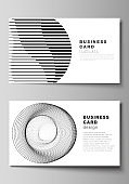 Vector illustration of the editable layout of two creative business cards design templates. Geometric abstract background, futuristic science and technology concept for minimalistic design.