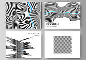 The minimalistic abstract vector illustration of the editable layout of the presentation slides design business templates. Abstract big data visualization concept backgrounds with lines and cubes.