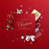 Merry Christmas square background template vector with present cartoon elements