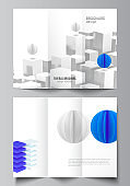 Vector layouts of covers design templates for trifold brochure, flyer layout, brochure cover, advertising. 3d render vector composition with dynamic realistic geometric blue shapes in motion.
