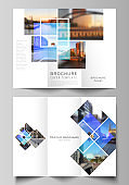 The minimal vector illustration of editable layouts. Modern creative covers design templates for trifold brochure or flyer. Creative trendy style mockups, blue color trendy design backgrounds.