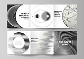 Vector layout of square format covers design templates for trifold brochure, flyer, magazine. Geometric abstract background, futuristic science and technology concept for minimalistic design.