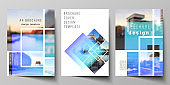 The vector layout of A4 format modern cover mockups design templates for brochure, magazine, flyer, booklet, annual report. Creative trendy style mockups, blue color trendy design backgrounds.
