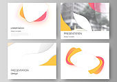 Minimalistic abstract vector illustration of the editable layout of the presentation slides design business templates. Yellow color gradient abstract dynamic shapes, colorful geometric template design