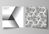 Minimal vector illustration of editable layout of two square format covers design templates for brochure, flyer, magazine. Abstract geometric triangle design background using triangular style patterns