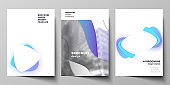 Vector layout of A4 format modern cover mockups design templates for brochure, magazine, flyer, booklet, annual report. Blue color gradient abstract dynamic shapes, colorful geometric template design.