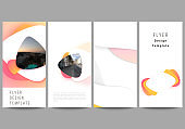 The minimalistic vector illustration of the editable layout of flyer, banner design templates. Yellow color gradient abstract dynamic shapes, colorful geometric template design.