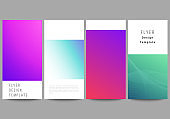 The minimalistic vector illustration of the editable layout of flyer, banner design templates. Abstract geometric pattern with colorful gradient business background.