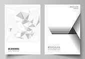 Vector layout of A4 format modern cover mockups design templates for brochure, magazine, flyer, booklet, report. Abstract geometric triangle design background using different triangular style patterns