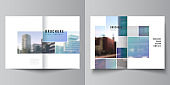 Vector layout of two A4 format cover mockups templates for bifold brochure, flyer, magazine, cover design, book design, brochure cover. Abstract design project in geometric style with blue squares