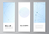 Vector layout of roll up mockup templates for vertical flyers, flags design templates, banner stands, advertising design mockups. Blue medical background with connecting lines and dots, plexus.