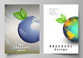 Vector layout of A4 format cover mockups design templates for brochure, flyer, booklet, cover design, book design, brochure cover. Save Earth planet concept. Sustainable development global concept.