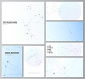 Vector layouts of social network mockups in popular formats for cover design, website design, website backgrounds or advertising mockups. Blue medical background with connecting lines and dots, plexus