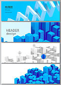 Vector layout of headers, banner templates for website footer design, horizontal flyer design, website header backgrounds. 3d render vector composition with dynamic geometric blue shapes in motion.