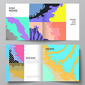 Vector layout of two covers templates for square design bifold brochure, flyer, cover design, book design, brochure cover. Japanese pattern template. Landscape background decoration in Asian style.