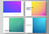 The minimalistic abstract vector illustration of the editable layout of the presentation slides design business templates. Abstract geometric pattern with colorful gradient business background.