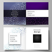 Vector layout of two covers templates for square design bifold brochure, flyer. Digital technology and big data concept with hexagons, connecting dots and lines, polygonal science medical background.