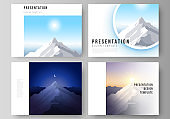 The minimalistic abstract vector illustration layout of the presentation slides design business templates. Mountain illustration, outdoor adventure. Travel concept background. Flat design vector.