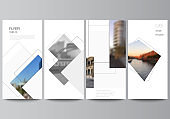 Vector layout of flyer, banner design templates with geometric simple shapes, lines and photo place for website advertising design, vertical flyer, website decoration backgrounds.